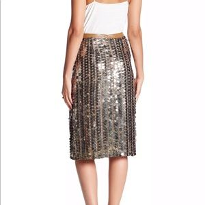 Tracy Reese Sequined Flared Skirt Tarnished Sz 4